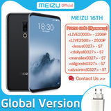 Free Shipping by DHL , Global version Meizu 16th SmartPhone 64GB 128GB Snapdragon 845 Octa Core Android Phone Dual Rear Camera In-Screen Fingerprint