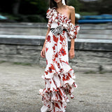HIGH QUALITY New Fashion 2020 Designer Runway Dress Women's One-shoulder Floral Cascading Ruffle Long Dress