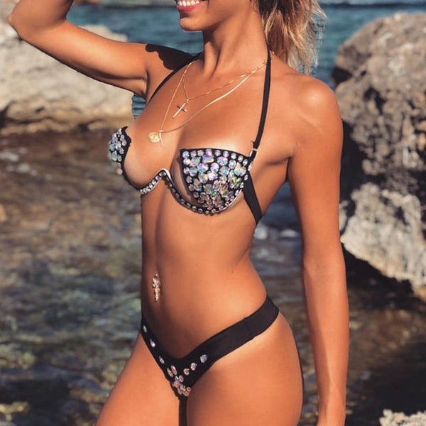 Halter Sexy Diamond Crystal Bikini Set Bandeau Swimwear Women Push Up Swim Suit Brazilian Thong Bikini 2019 Black Female Bather
