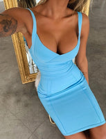 High Quality Blue Pink V-neck Sleeveless Rayon Bandage Dress Party Cute Dress