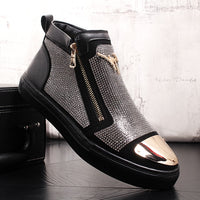 High Quality Men Vulcanized shoes New High Top  Casual shoes Men Autumn Leather Sneakers Male Flats Rhinestone youth cowboy boot