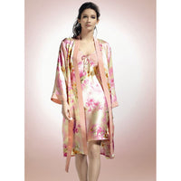 High Quality Real Silk Sleeping Robe Sets Female Two-Piece Natural Silk Sleepwear Women Printed Long-Sleeved Bathrobes YE0001