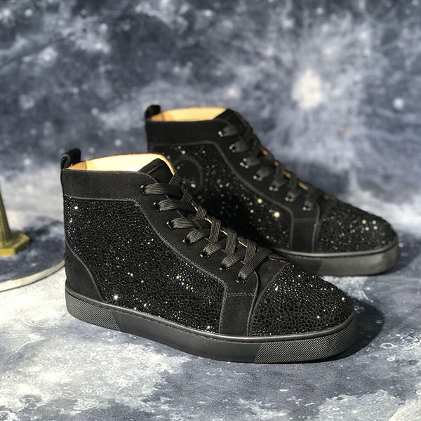 High Top Loafers Mens Shoes Black Glitter Bling Bling Red Rhinestones Sneakers Mens High Top Red Bottom Shoes Man Luxury Spikes