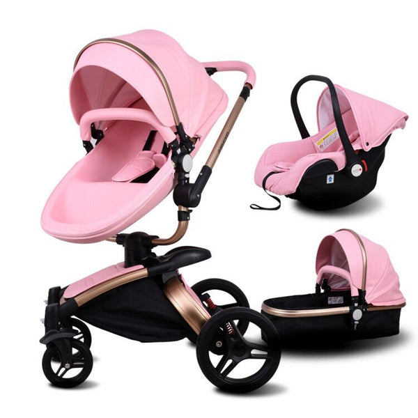 High-end Baby Stroller PU Leather Pro 3 in 1 Baby Carriage With Car Safety Seat for Babies Suit for 0-3 Years Old Newborns