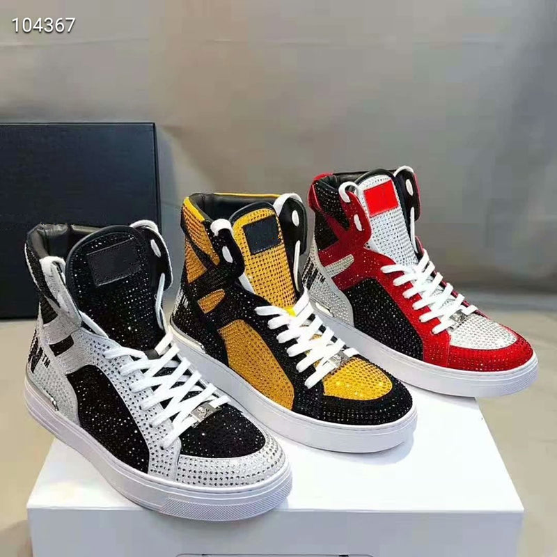 Canvas High Top Sneaker Casual Skate Shoe Boys Girls Pugs Drill Out from Colorful Skull Heap