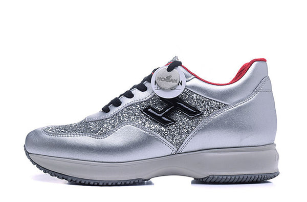 Hogan Fashion Women's Sneakers Golden Silver Shoes Rhinestone Bling Casual Jogging Shoes Luxury Desinger Comfortable Women Shoes
