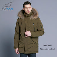 ICEbear 2019 Man Warm Winter Brand Jacket Luxury Detachable Fur Collar Turtleneck Windproof Concise Comfortable Cuffs 17MD903D