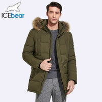 ICEbear 2019 Mid-Long Jacket Men Winter Detachable Raccoon Fur Collar And Hat Large Pocket Design Windproof Thick Coat 17MD901D
