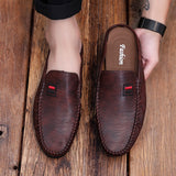 Ifrich Summer Pu Leather Shoes For Male Black Casual Man Sneakers Slip On Half Drag  Men Shoes Rubber Bottoms Half slippers