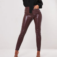 InstaHot Black High Waist Pencil Faux Leather Pants Women Casual Elegant Carving Print Ankle Length Pants Streetwear Trousers