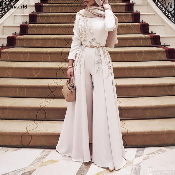Ivory Long Sleeve Muslim Evening Dress 2019 Embroidery robe soiree Islamic dubai Hijab Evening Gowns Pantsuit Formal Prom Dress