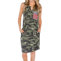 JAYCOSIN 2019 New Summer Women Dresses Sleeveless Military Camouflage  American Flag Pockets Printing Festival Sundress 9041212