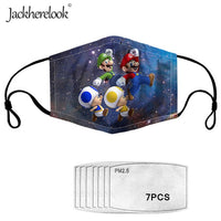 Jackherelook 7PCS Activated Carbon Filter PM2.5 Proof Anime Mask for Kids Super Mario Bros Print Face Mask Cotton Mouth Masks