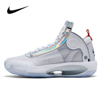 Jordan Shoes Original Nike Air Jordan 34 White Iride Women's Basketball Shoes Eclipse High-top Jordan Shoes Basketball Sneakers