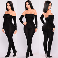 Jumpsuit Women Off Shoulder Bodycon Long Sleeve Clubwear Playsuit Jumpsuits Rompers Skinny Sexy Jumpsuits Female Black Trousers