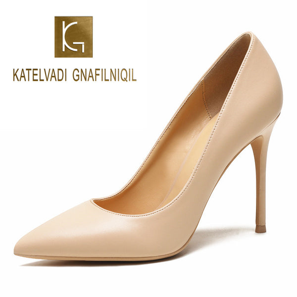 FREE DHL SHOPPING KATELVADI 10CM High Heels Shoes Women Pumps Beige Split Leather Woman Shoes Sexy Pointed Toe Wedding Party Shoes K-358