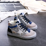 Kids Sparkly Shoes 2019 Winter Fashion Girls High Top Glitter Shoes Boys Sequin Sneakers Children Casual Sports Trainers