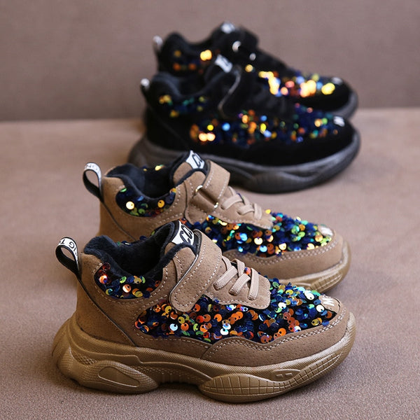 Kids Sparkly Shoes 2019 Winter Fashion Glitter Shoes Girl Sequin Sneakers  Children Casual Sports Trainers Shoes for Girls Kids