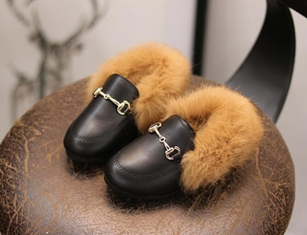 Koovan Children's Flats 2019 Autumn And Winter Fashion Rabbit Fur Boots 1-3 Years Old Toddler Cotton Baby's Shoes Peas