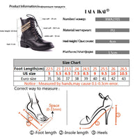 LALA IKAI Ankle Winter Vintage Boots Women PU Leather Golden Chaine Boots Lace-Up Med Heel Round Toe Zipper Boots 014A2701 -45