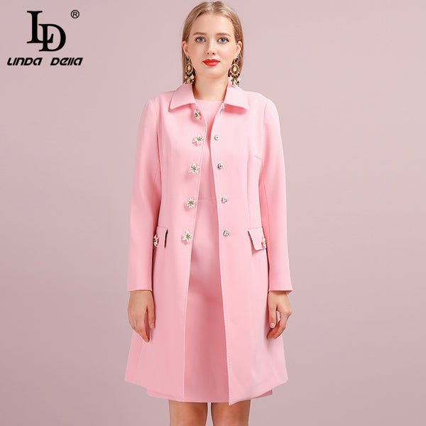FREE DHL Shipping Fashion Autumn Winter Pink Outwear Women's Coats Long Sleeve Pockets Button Elegant Casual Office Lady Overcoat