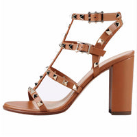 LOVIRS Women Comfort Ankle Strap Rivets Studded Open Toe Slingback Sandals  Block Heel Shoes for Dress Party Wedding