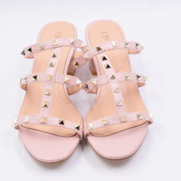 LOVIRS Women Leisure Open Toe Studded Strappy Rivets Sandals Slingback Cut-Outs Mule Slippers Block Heel Slides for Party