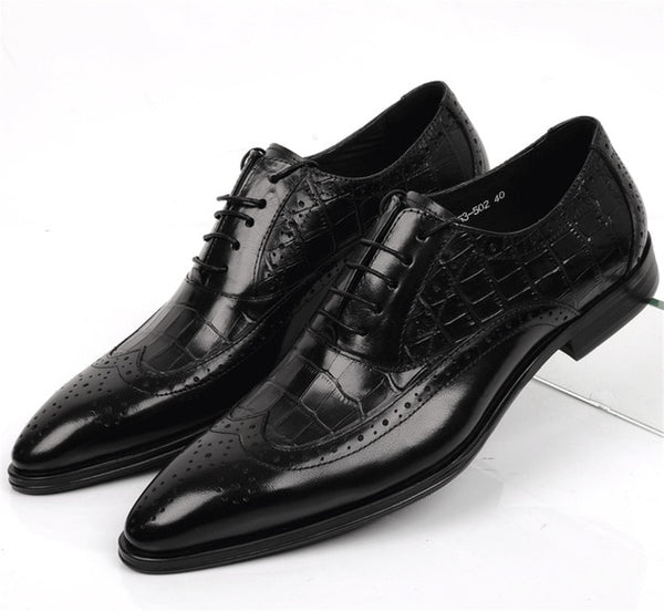 Large Size EUR45 Crocodile Grain Black / Tan Oxfords Mens Business Shoes Genuine Leather Brogues Dress Shoes Man Wedding Shoes