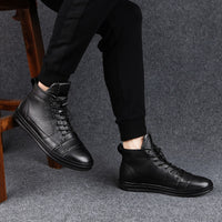 Large Size38-48 Spring Autumn Winter Warm Shoes High Top Genuine Leather Men Casual Shoes Men 2019 Fashion Lace-up Flat Sneakers