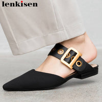Lenkisen vintage design metal decoration outside newest slippers slip on square toe mules big size gathering leather shoes L05