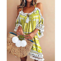 Lipswag Sexy Off the Shoulder Tassel Geometric Print Dress Women 2019 Summer Short Sleeve Ladies Dresses Casual Plus Size Dress