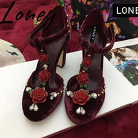 Loney Spring Summer Genuine Leather Mary Janes Women Pumps Floral Crystal Deco Buckle Strap Women HIgh Heels Summer Pumps Shoes