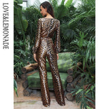 Love&Lemonade Sexy Deep V-Neck High Waist Leopard Print Elastic Fabric Jumpsuit LM81646-1 Autumn/Winter
