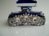Luxury Blue with Silver Clear Crystal Stones Jeweled K9 Crystal Perfume Bottle 20ml