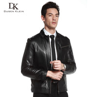 Luxury Cotton leather Jacket men Genuine Sheepskin 2017 New Dusen Klein Brand slim designer style leather Coat Black DK108