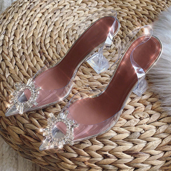 Luxury Shoes Women Designers High Heels Woman Sandals Rhinestone Clear Shoes Hollow Crystal Heel Versatile Sandals Size 34-45