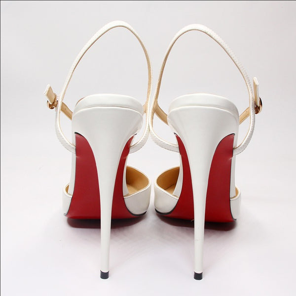 Luxury Shoes Women Designers Red Stiletto Heel Sandals 12cm High Heels Sandals Women Back Strap Sexy Wedding Shoes Large Size 44