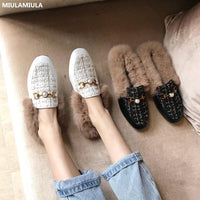 MIULAMIULA Brand Designers 2019 Winter Luxury Metal Chain Rabbit Hair Woman Fur Slides Slip On Loafers Velvet Mules Flip Flops