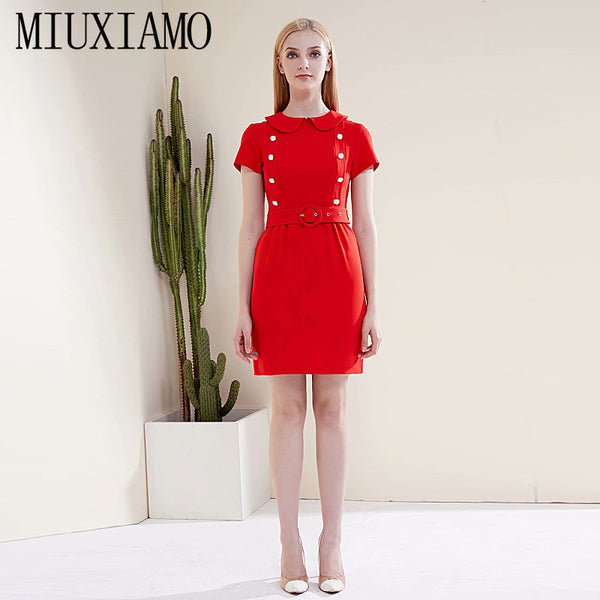 FREE DHL SHIPPING MIUXIMAO Mini Dress High Quality  2020 Summer Dress New Fashion Party  Casual Vintage Elegant Chic Red White Slim Dresses Women