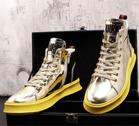 Men Fashion Men Shiny Bling  Golden Sneakers Lovers Shoes High Quality Patent leather Footwear nightclub Increase the High shoes