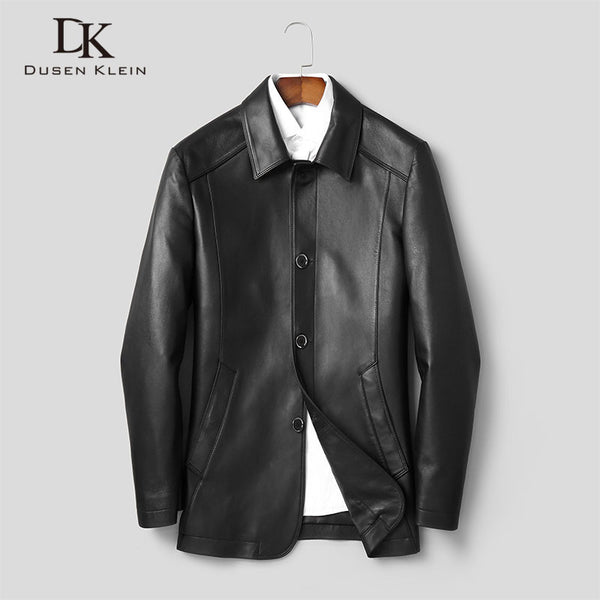 Men Genuine Leather Jacket Real Sheepskin Jackets Casual Long Black Pockets 2019 Autumn New Jacket for Man J1909