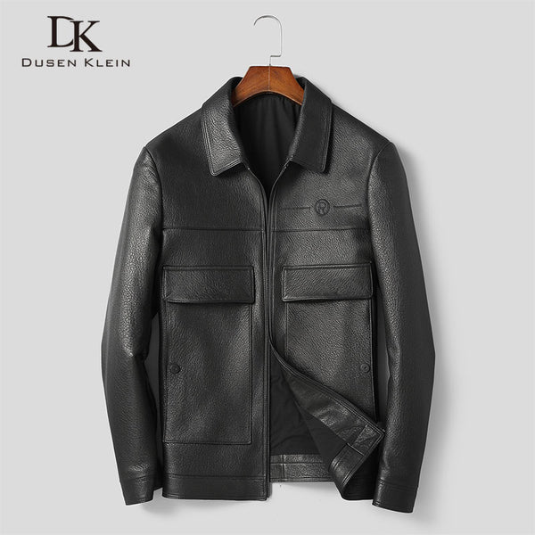 Men Genuine Leather Jacket Real Sheepskin Jackets Casual Short Black Pockets 2019 Autumn New Jacket for Man 9011
