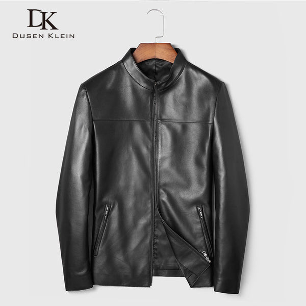 Men Genuine Leather Jacket Real Sheepskin Jackets Casual Short Black Stand Collar Pockets 2019 Autumn New Jacket for Man 19C211