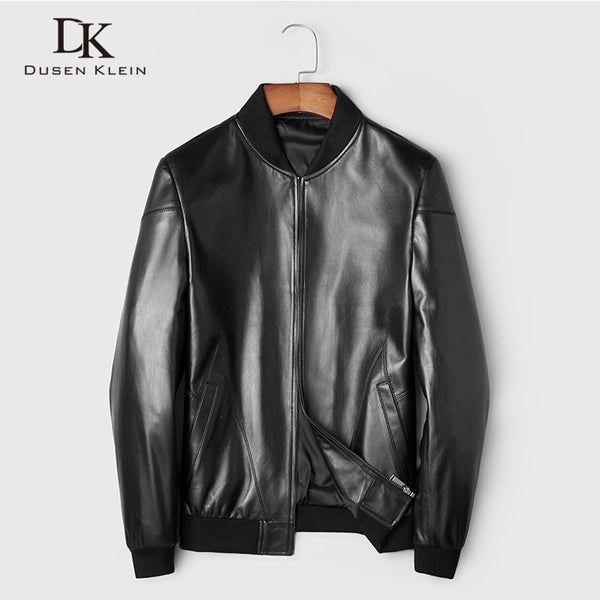 Men Genuine Leather Jacket Real Sheepskin Jackets Casual Short Black Stand Collar Pockets 2019 Autumn New Jacket for Man 89807