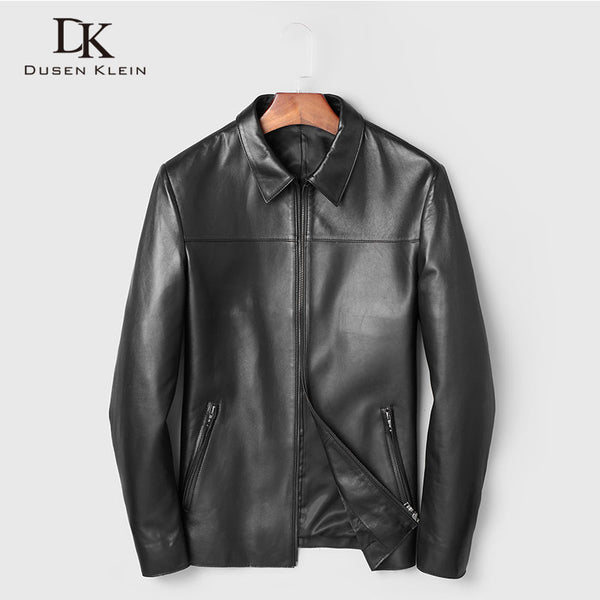 Men Genuine Leather Jacket Real Sheepskin Jackets Casual Short Black Stand Collar Pockets 2019 Autumn New Jacket for Man 19C211F