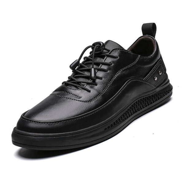 Men Sneakers Genuine Leather Shoes Black White Handmade Men Oxfords Fashion Men Leather Shoes Korean version Simple white Fltas