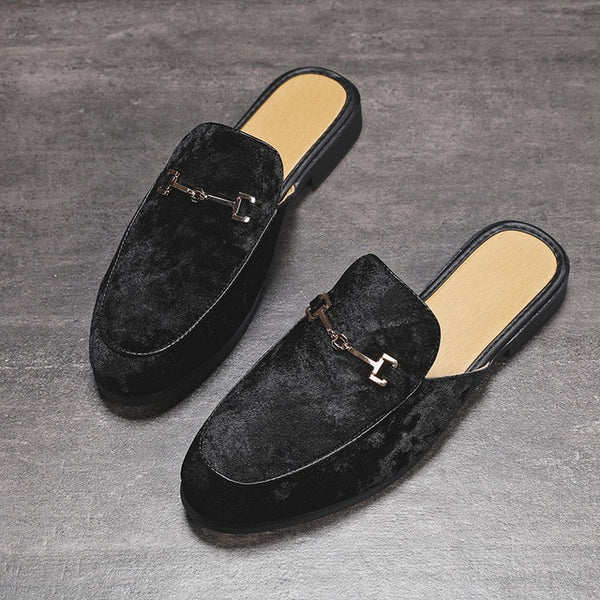 Mens Casual Shoes Men Suede Leather Open Back Slip-On Dress Slippers On Backless Velvet Loafers Lazy Person Half Shoe for Men