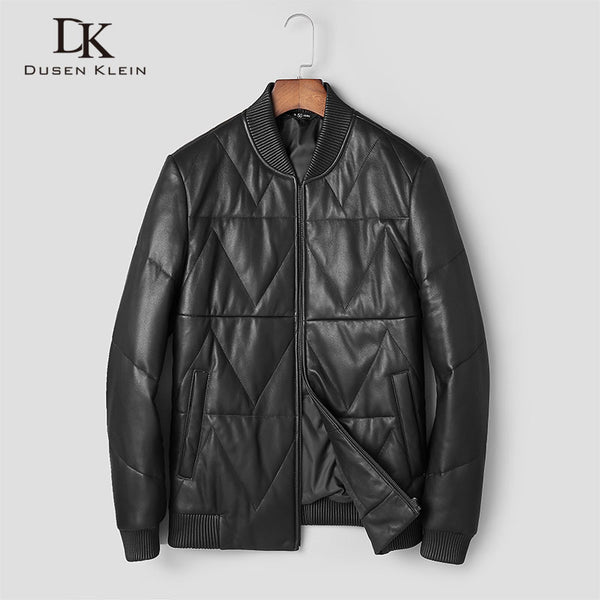 Mens winter jackets Nature leather down Dusen Klein short Slim Designer light down coats casual black lether clothing t0066