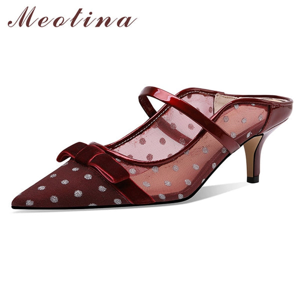Meotina Pumps Women Bow Patent Leather High Heel Mules Shoes Pointed Toe Thin Heels Cutouts Lady Footwear Summer Beige Wine Red