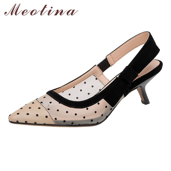 Meotina Shoes Women Kid Suede High Heel Sandals Bow Pointed Toe Thin Heels Cutouts Female Sandals Summer Black Apricot Size 40